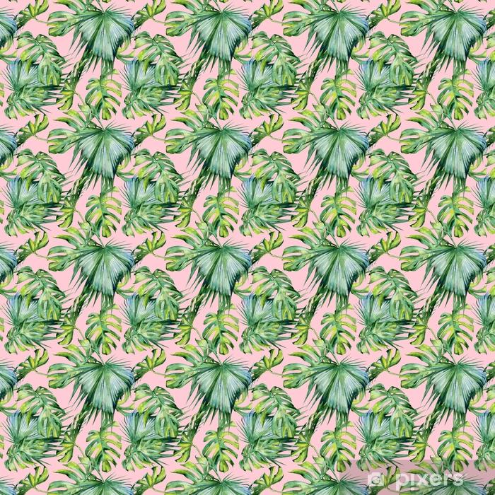Spesialtilpasset vinyltapet Sømløs akvarell illustrasjon av tropiske blader, tett jungel. Håndmalt. Banner med tropisk sommermotiv kan brukes som bakgrunnstekstur, innpakningspapir, tekstil- eller tapetdesign - Planter og Blomster