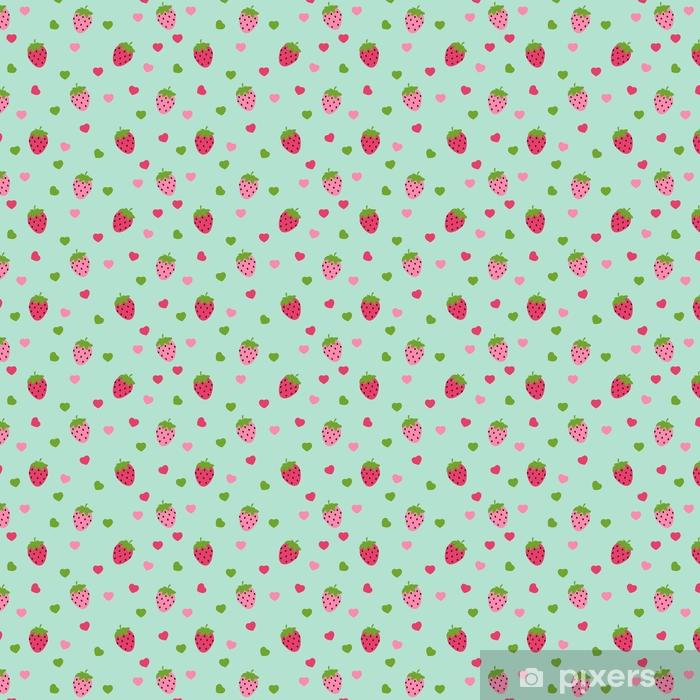 Vinyl behang, op maat gemaakt Eenvoudige aardbei naadloze patroon achtergrond vectorillustratio - Eten