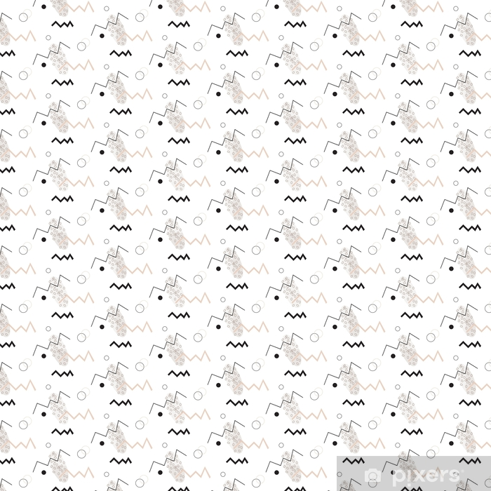 Seamless geometrical pattern. Minimalist modern style. Abstract mountains. Zigzag. It is black white and nude colors. Vinyl custom-made wallpaper - Graphic Resources