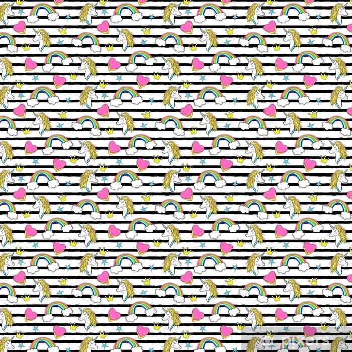 Vinyltapete nach Maß Nahtloses Muster mit trendy Cartoon-Patches im Stil der 90er Jahre. - Grafische Elemente