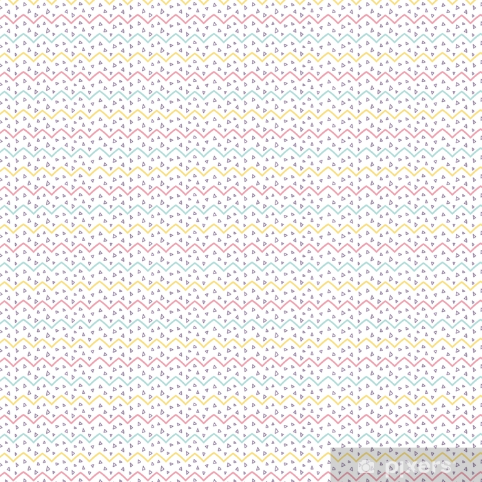Memphis seamless pattern design with zigzags and triangle confet Vinyl custom-made wallpaper - Graphic Resources