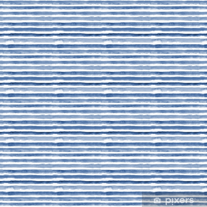 Watercolor seamless pattern with blue stripes. Repeat straight stripes texture background. Hand drawing pattern. Vinyl custom-made wallpaper - Graphic Resources
