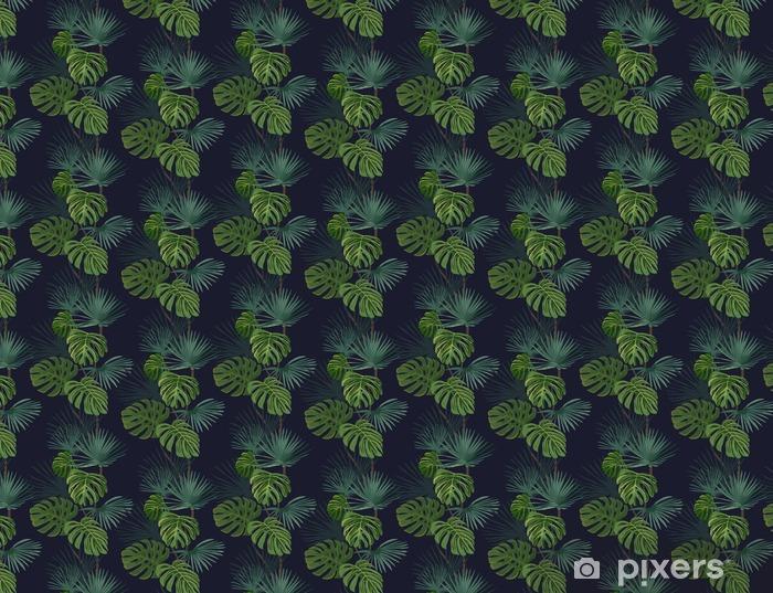 Vinyl behang, op maat gemaakt Naadloos patroon met tropische bladeren. Hand getrokken achtergrond. - Bloemen en Planten
