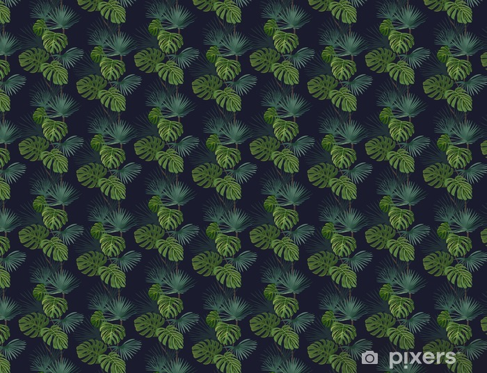 Carta da parati in vinile su misura Seamless pattern con foglie tropicali. disegnato a mano di fondo. - Piante & Fiori