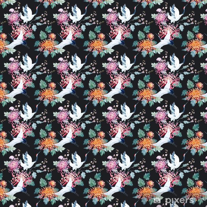 Watercolor crane pattern Self-adhesive custom-made wallpaper - Animals