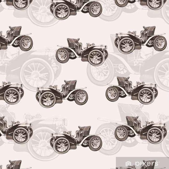 Vinylová Tapeta Veteránem bezproblémové vzor, retro kresba stroj, karikatura vektor pozadí, černobíle. Ilustrace ve stylu sépie. Pro návrh tapety, obálka, tkaniny, dekorace - Grafika