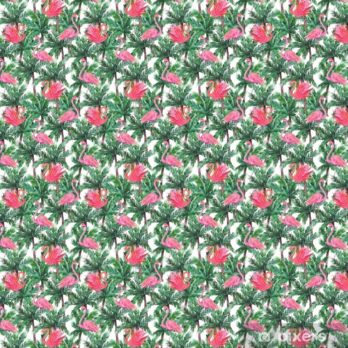 Vinyl behang, op maat gemaakt Aquarel roze flamingo's, exotische vogels, tropische palmbladeren. s - Grafische Bronnen