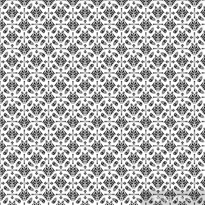 Papier peint vinyle sur mesure Illustration vectorielle motif géométrique sans couture avec tête de loup dans le style folk indien indien. - Ressources graphiques