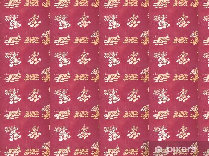 Papier peint vinyle sur mesure Pochoir in a temple bouddhiste, laos - Asie