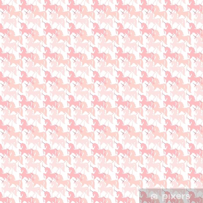 Vinyl behang, op maat gemaakt Roze eenhoorns. naadloze vector patroon. sprookjesachtige achtergrond met schattige silhouetten van eenhoorns. - Dieren