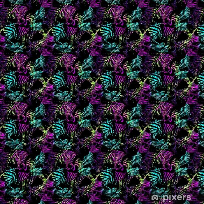 Zelfklevend behang, op maat gemaakt Abstract gestreept tropisch dier in de jungle op kleurrijke schilderij hand getrokken achtergrond. druk naadloos vectorpatroon in manierstijlen af - Dieren