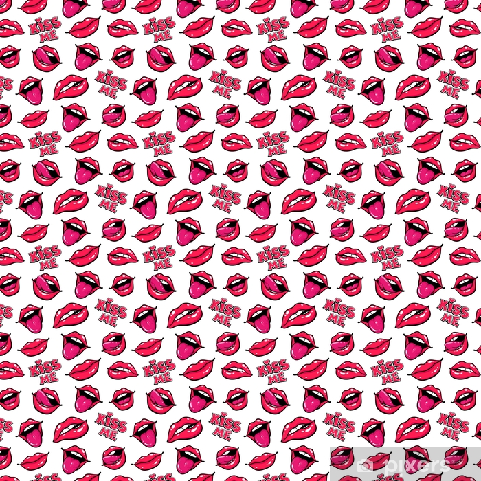 Nainen huulet. suu suukko, hymy, kieli, hampaat ja suutele minua kirjoitus valkoisella pohjalla. vektori sarjakuva saumaton malli pop art retro style. Räätälöity vinyylitapetti - Graafiset Resurssit