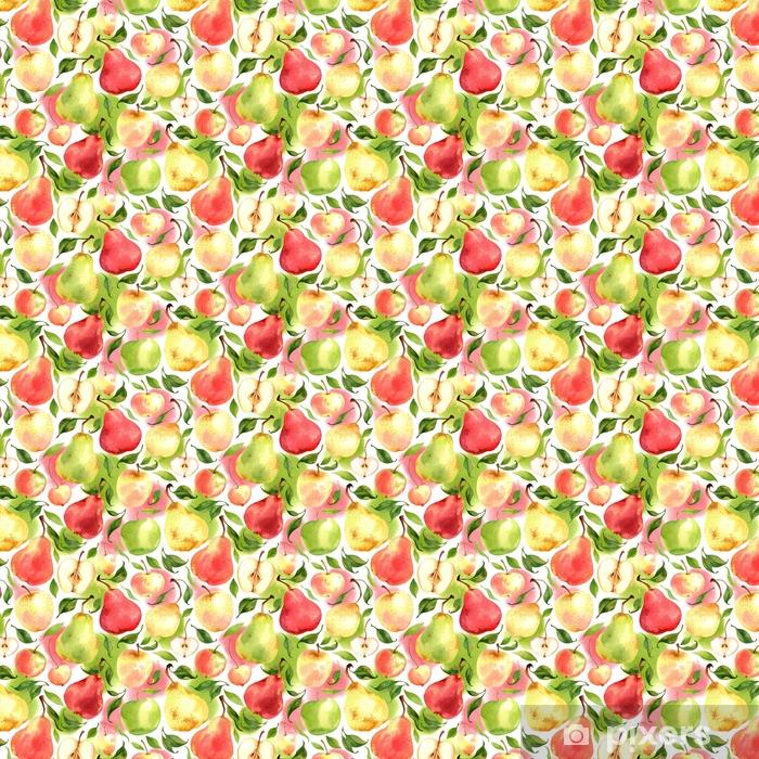 Carta da parati in vinile su misura Modello senza cuciture con le mele e le pere dell'acquerello su fondo bianco - Cibo
