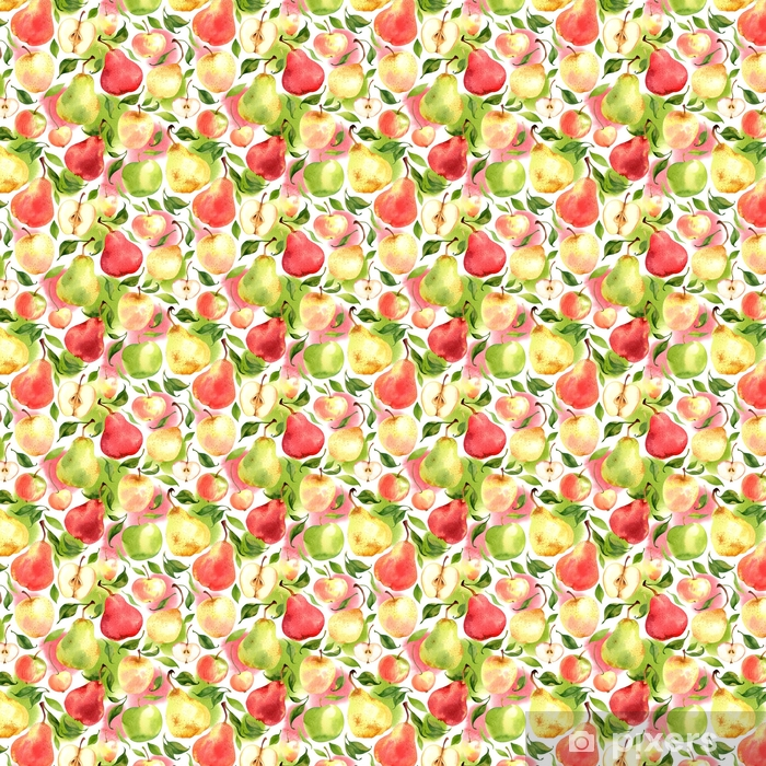 Seamless pattern with watercolor apples and pears on white background Vinyl custom-made wallpaper - Food