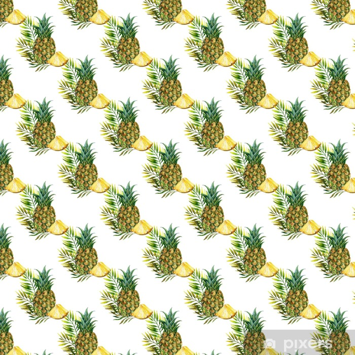 Vinylová tapeta na míru Akvarel ananas bezešvé vzor - Jídlo