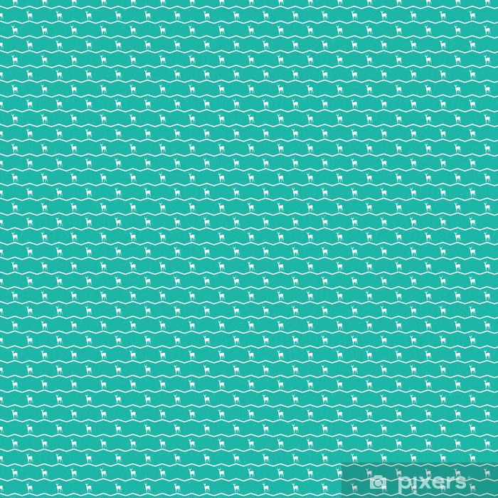 Vinyl behang, op maat gemaakt Тurquoise achtergrond met witte rendieren. vector textuur voor webpagina's, behang, tafellaken, verpakking, inpakpapier, textiel, achtergrond voor uitnodigingskaart of vakantie decor. - Grafische Bronnen