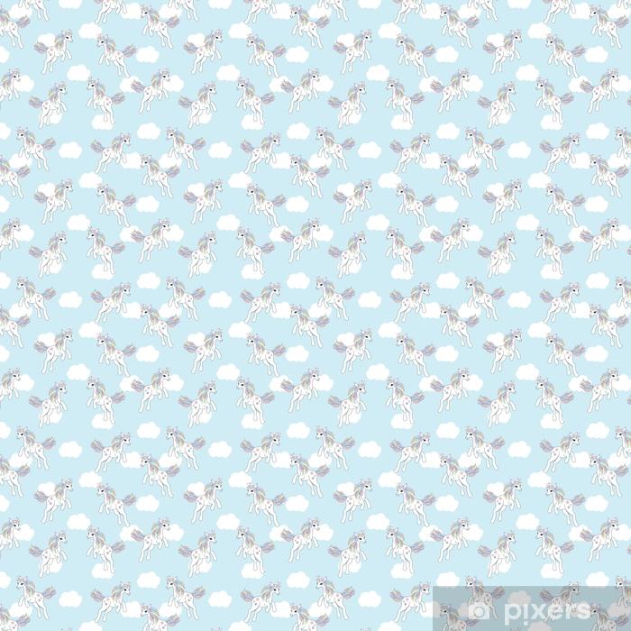 Papier peint vinyle sur mesure Fond transparent d'illustration animale avec une licorne mignonne sur fond de ciel bleu adapté pour papier peint enfant, papier brouillon et carte postale - Animaux