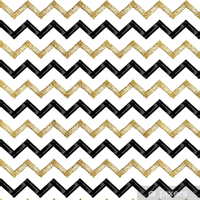 Seamless Pattern Of Black Gold Zigzag Chevron Golden And Zig Zag Striped Background