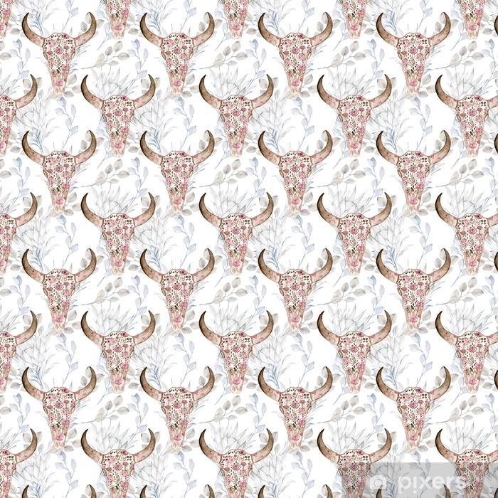Vinyl behang, op maat gemaakt Aquarel naadloze patroon met schedel, pioenroos, protea. decoratie exotische etnische print - Grafische Bronnen