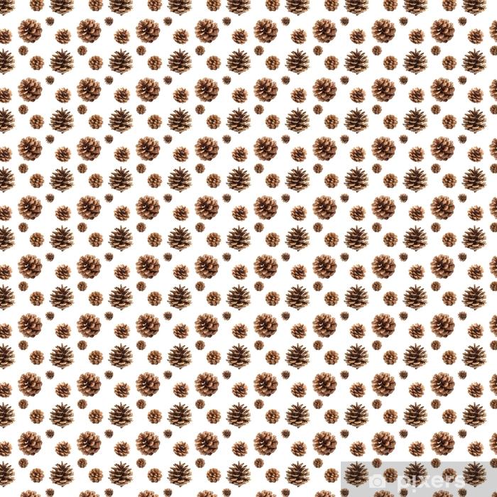 Vinyl behang, op maat gemaakt Fir kegels naadloze patroon geïsoleerd op een witte achtergrond, met uitknippad - Bloemen en Planten