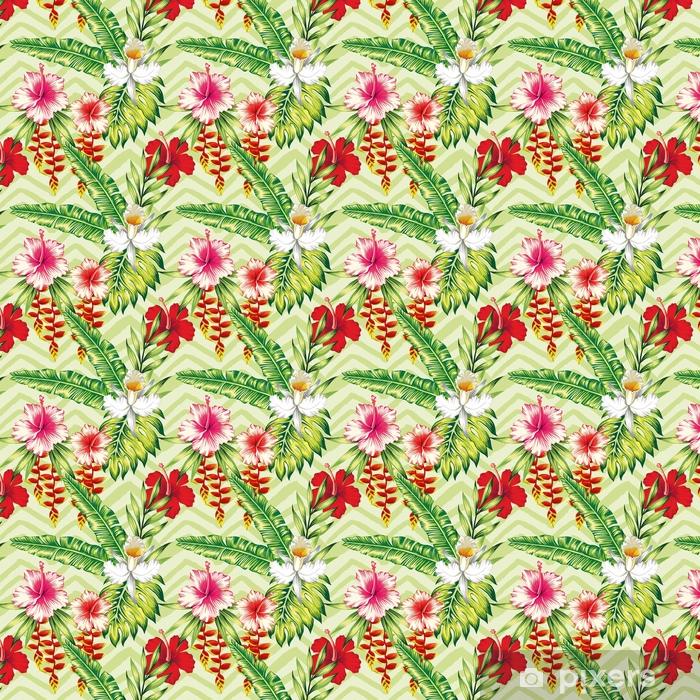 Zelfklevend behang, op maat gemaakt Hibiscus palmbladeren orchideeën patroon - Bloemen en Planten