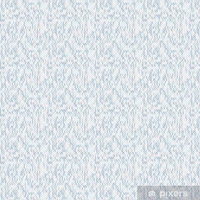 Vinyl behang, op maat gemaakt Naadloos gebreide patroon in stijl in koele kleuren. - Grafische Bronnen