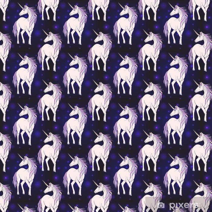 Vinyl behang, op maat gemaakt Naadloze patroon met eenhoorn met kleur roze paarse manen. - Dieren