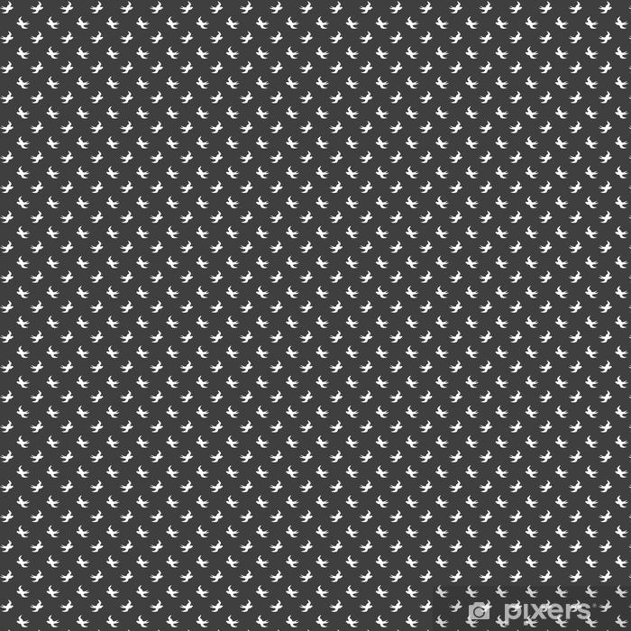 Tapeta na wymiar winylowa Stylowy abstrakcyjny wzór bez szwu z czarną graficzną jaskółką. - Krajobrazy