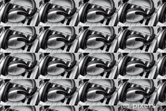 Vinyl behang, op maat gemaakt Koptelefoon op synthesizer toetsenbord - Amusement