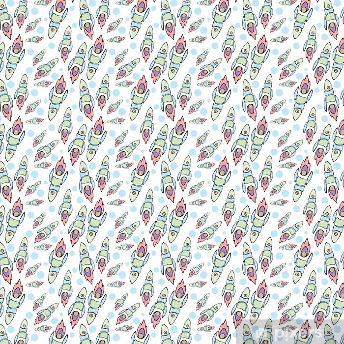 Tapeta na wymiar winylowa Ładny i kolorowy przestrzeń bezszwowe tło wzór z rakiet. fioletowy, różowy i niebieski. - Zasoby graficzne