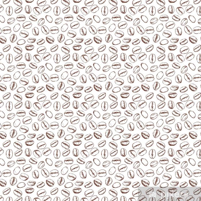 Carta da parati in vinile su misura Reticolo del chicco di caffè compreso senza cuciture su fondo bianco, clipart di vettore - Bevande