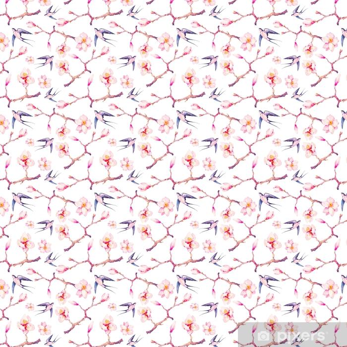 Akwarela wiosna z jaskółki wzór. ręcznie malowane tekstury z oddziałów kwiat magnolii i ptaki na białym tle. projekt tapety z kwiatów drzew