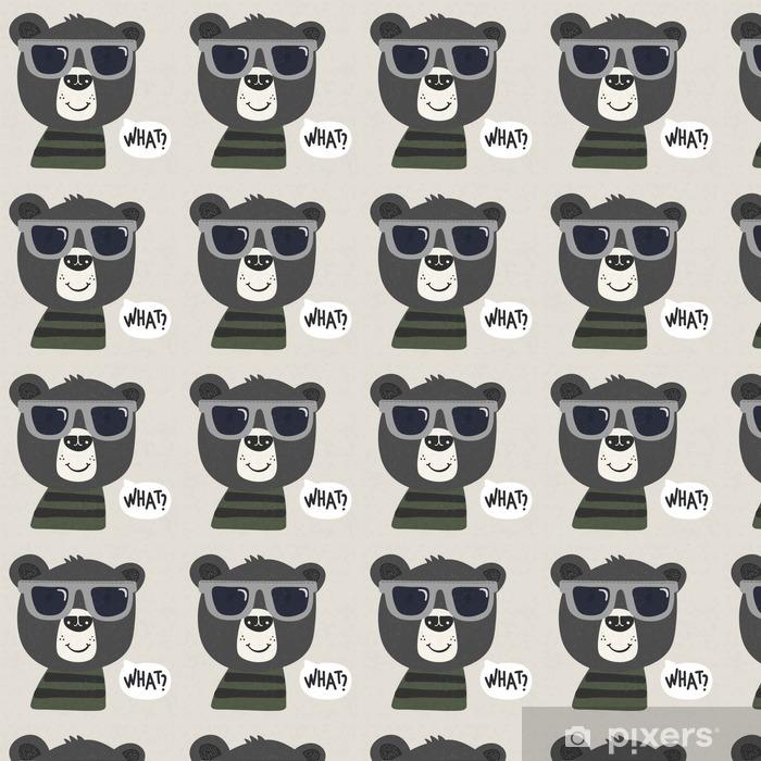 Spesialtilpasset vinyltapet Kul tegneserie bjørn med solbriller - Dyr