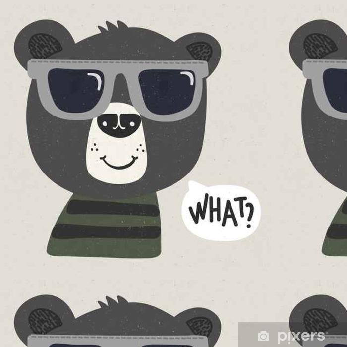 Vinyltapet Kul tegneserie bjørn med solbriller - Dyr