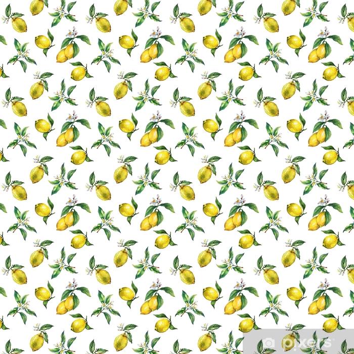 Papel pintado estándar a medida El patrón sin fisuras de las ramas de limones frescos de cítricos con hojas verdes y flores. dibujado a mano pintura de acuarela sobre fondo blanco. - Recursos gráficos