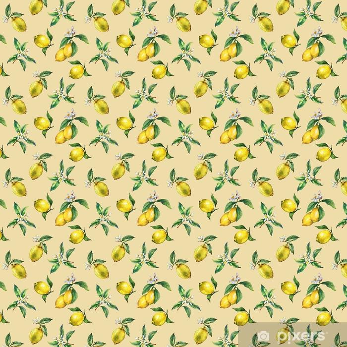 Tapeta na wymiar winylowa Wzór oddziałów świeżych owoców cytrusowych cytryn z zielonych liści i kwiatów. ręcznie rysowane akwarela na żółtym tle. - Jedzenie