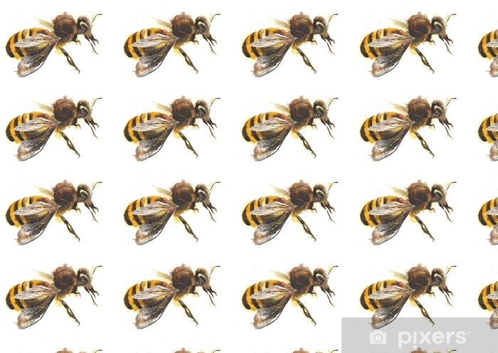 Honey Bee Watercolor Painting Hand Made Isolated On White Background Wallpaper Vinyl Custom Made