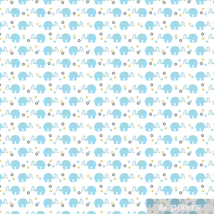Cute Blue Elephants Seamless Pattern Vector Kids Background Wallpaper Vinyl Custom Made