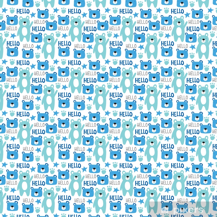 seamless teddy bear pattern vector illustration Self-adhesive custom-made wallpaper - Animals