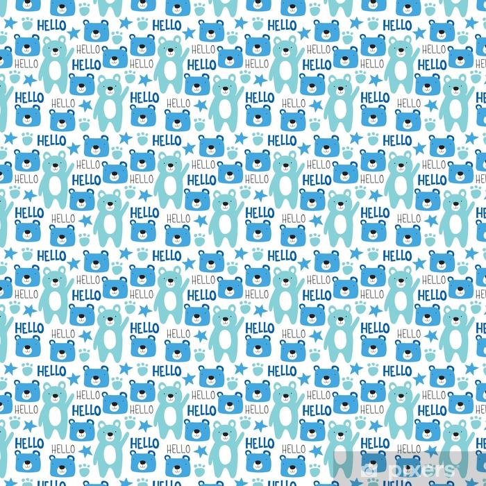 Vinyltapete nach Maß Nahtlose Teddybär Muster Vektor-Illustration - Tiere