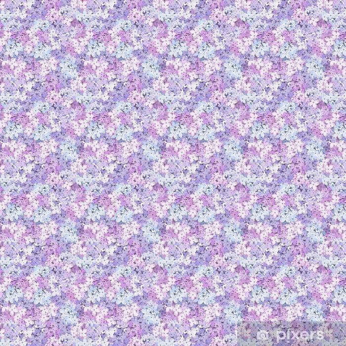 Vinyl behang, op maat gemaakt Vector naadloze achtergrond met paarse, roze en blauwe lila bloemen. - Grafische Bronnen