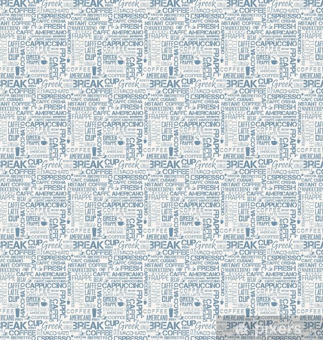 Papel pintado estándar a medida Azulejo sin fisuras de fondo de palabras y símbolos de café - Recursos gráficos