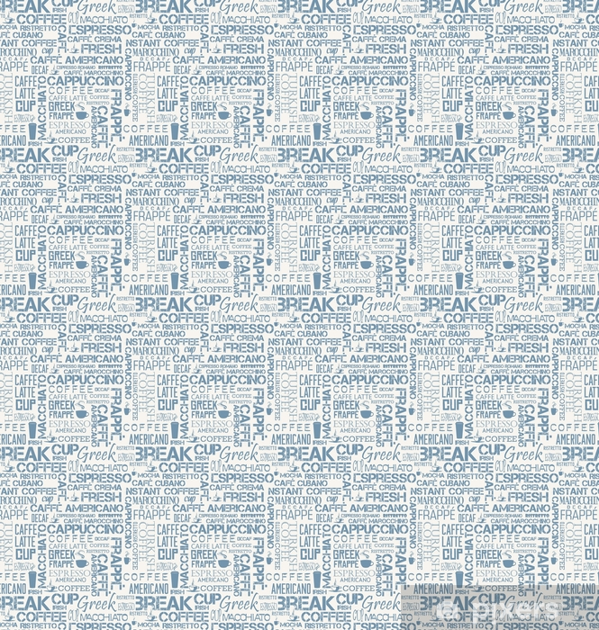 Background seamless tile of coffee words and symbols Vinyl Custom-made Wallpaper - Graphic Resources