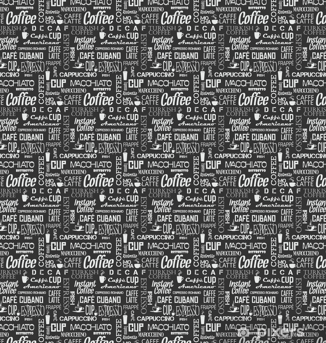 Papier peint vinyle sur mesure Tuile sans soudure de fond de mots et de symboles de café - Ressources graphiques