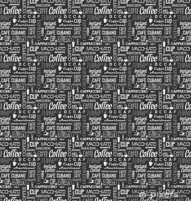 Tausta saumaton kaakeli kahvia sanoja ja symboleja Räätälöity vinyylitapetti - Graafiset Resurssit