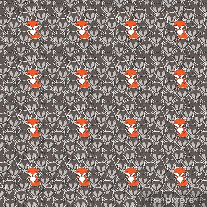 Papier peint vinyle sur mesure Loups et seul renard. modèle sans couture - Animaux