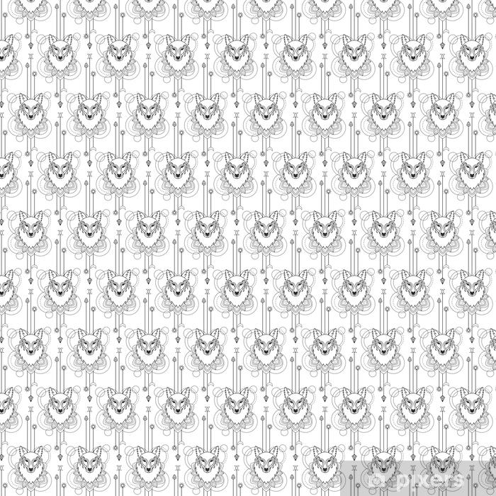 Papier peint vinyle sur mesure Modèle sans couture géométrique de loup - Animaux