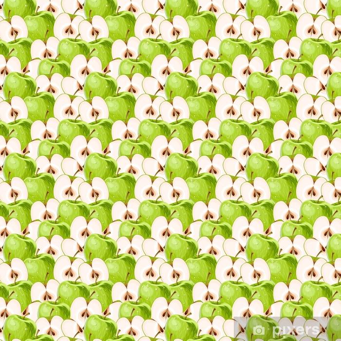 Papel pintado estándar a medida Manzanas verdes y rebanadas de manzana sin costuras - Comida