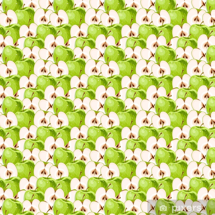 Green apples and apple slices seamless Vinyl Custom-made Wallpaper - Food
