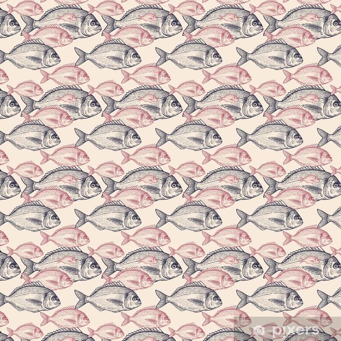 Papier peint vinyle sur mesure Modèle vectorielle continue avec du poisson. - Nourriture
